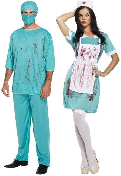 23104df5f2602 Couples Zombie Doctor and Nurse Fancy Dress Costumes - Fancy Me Limited