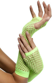 Ladies Neon Green Fishnet Gloves