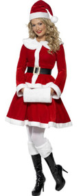 Ladies Deluxe Miss Santa Fancy Dress Costume