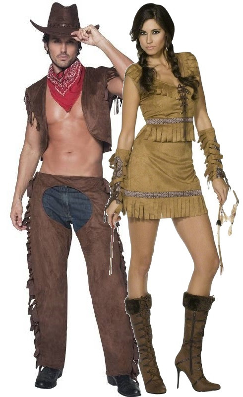 Couples Fever Cowboy  Indian Fancy Dress Costume - Fancy -7345