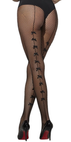 Ladies Bow Seamed Fishnet Tights