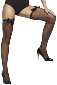 Ladies Black Fishnet Bow Top Stockings