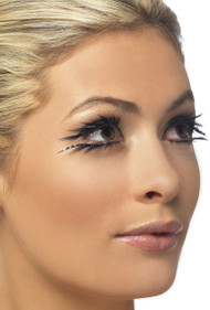 Ladies Black Feather Diamante Eyelashes