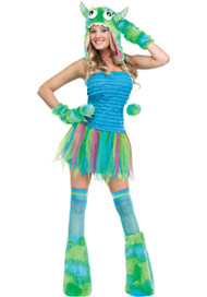 Ladies Blue Monster Fancy Dress Costume