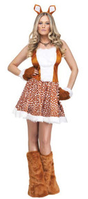 Ladies Sexy Reindeer Fancy Dress Costume