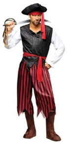 Mens Caribbean Pirate Fancy Dress Costume