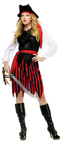 Ladies Caribbean Pirate Fancy Dress Costume