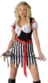 Ladies Playful Pirate Fancy Dress Costume