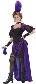 Ladies Purple Saloon Girl Fancy Dress Costume