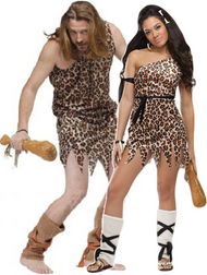 Couples Caveman & Woman Fancy Dress Costume 2