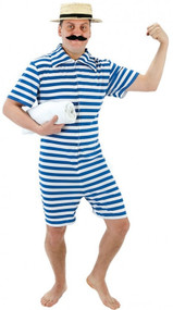 Mens Blue 1920s Bathing Suit Fancy Dress Costume