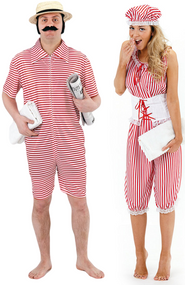 Couples 1920s Bathing Suit Fancy Dress Costume