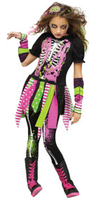 Girls Neon Zombie Fancy Dress Costume