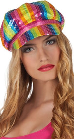 Ladies Sequinned Rainbow Fancy Dress Cap