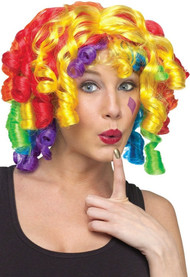 Ladies Curly Rainbow Clown Wig