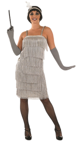 Ladies Silver Flapper Fancy Dress Costume 2