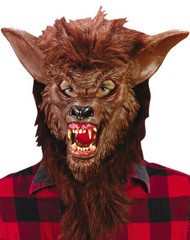 Mens Brown Werewolf Fancy Dress Mask