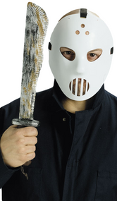 Mens Hockey Mask & Machete
