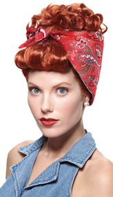 Ladies 1950s Red Rivetor Wig