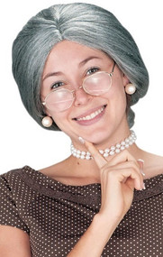 Ladies Grey Granny Fancy Dress Wig