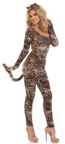 Ladies Cougar Catsuit Fancy Dress Costume