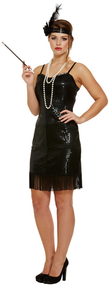 Ladies Black Sequinned Flapper Fancy Dress Costume