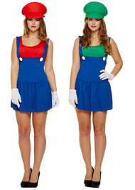 Couples Ladies Mario and Luigi Fancy Dress Costumes