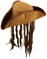 Mens Pirate Fancy Dress Hat with Hair