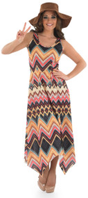Ladies Zig Zag Hippie Fancy Dress Costume
