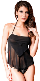 Ladies Black Camisole & Thong Lingerie Set