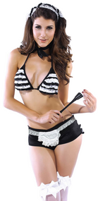 Ladies French Maid Lingerie Fancy Dress Costume