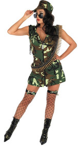 Ladies Sexy Army Fancy Dress Costume
