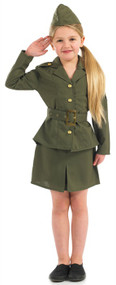 Girls WW2 Army Fancy Dress Costume 2