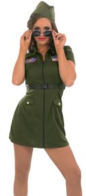 Ladies Sexy Aviator Fancy Dress Costume