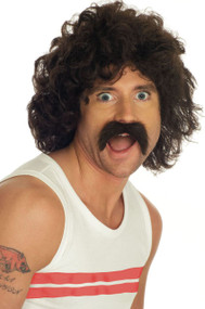 Mens 1970s Brown Wig and Moustache