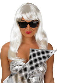 Ladies Long Pop Diva Wig and Glasses