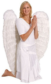 Ladies Extra Large White Feather Wings