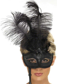 Ladies Black Feather Baroque Eyemask