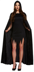 Adult Black Velvet Long Cape