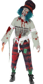 Mens Zombie Mad Hatter Fancy Dress Costume