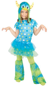 Girls Blue Monster Fancy Dress Costume
