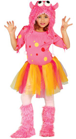 Girls Pink Monster Fancy Dress Costume