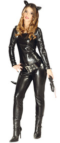 Ladies Sexy Black Catsuit Fancy Dress Costume