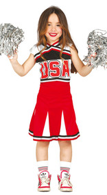 Girls American Cheerleader Fancy Dress Costume