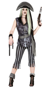 Ladies Ghost Pirate Fancy Dress Costume 2