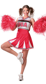 Ladies Cheerleader Fancy Dress Costume 2