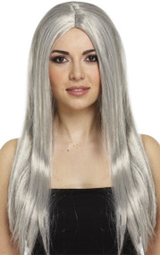 Ladies Long Grey Witch Wig