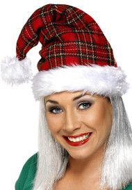 Adult Tartan Christmas Hat
