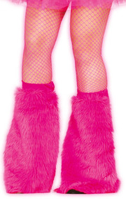 Ladies Neon Pink Fluffy Leg Warmers