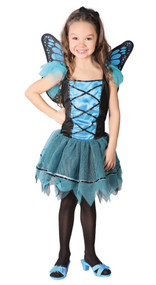 Girls Blue Butterfly Fancy Dress Costume